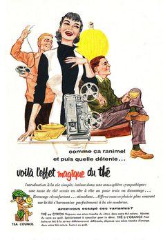 Vintage French Tea Council ad (1956). #vintage #1950s #food #tea #ads