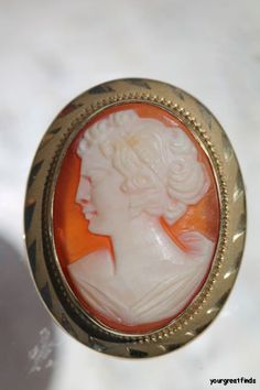 Vintage 1/20 12k gold filled Hand Carved Shell Cameo Brooch Pendant Pin