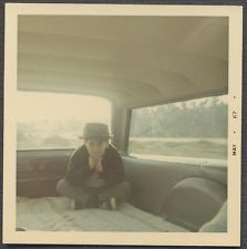 Vintage Color Photo Cute Boy w/ Fedora Hat in Back of Station Wagon 852375