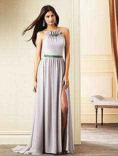 Alfred Angelo Style 7264L: chiffon and satin floor length halter dress with sweep train and open back