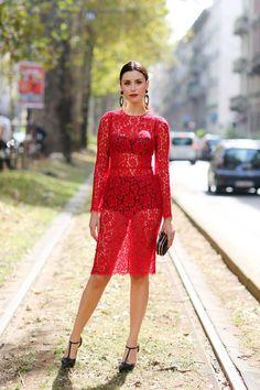 Red lace dress + black heels
