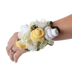 Yellow & White Sock Wristlet by TheBloomingBaby on Etsy, $24.95