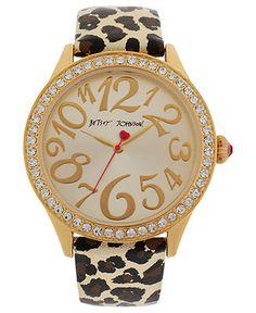 Betsey Johnson Gold Metallic Leopard Print Watch