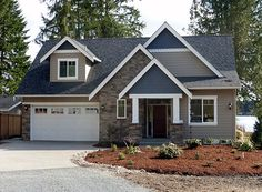 This 2 story Craftsman cottage #houseplan is perfect for a narrow waterfront lot. View additional photographs and the floor plans for this new design: http://www.thehousedesigners.com/plan/cottage-lake-5572/