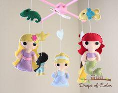 Baby Mobile - Baby Crib Mobile - Princess Mobile - Girl Nursery Room Decor - Disney Princesses (You Can Pick Other Custom Princesses) via Etsy