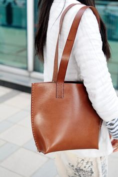 Hand Stitched Brown Leather Tote Bag via Etsy