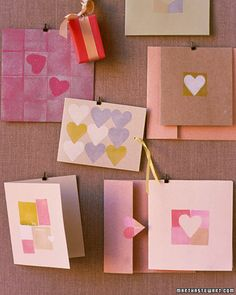 Stamped Valentine's, stamps made with erasers