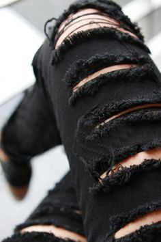 Casual Ripped Solid Black Pants