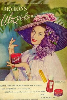 A hefty dose of beautiful vintage violet. #1940s #vintage #makeup #cosmetics #ads