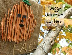 A twiggy jack-o-lantern! Such a cute Fall craft for kids! Lots of exploring, measuring, and crafting with this one. www.HowWeeLearn.com