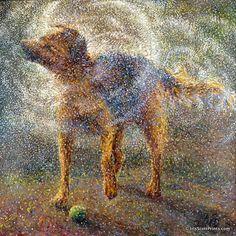 Shakin Sheppard by finger painter Iris Scott.