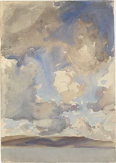 """Clouds"" by John Singer Sargent, 1897 - watercolor on white woven paper"