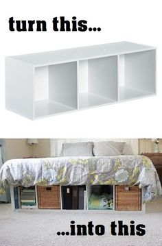 cube shelf from Target turned into cute under-the-bed storage. Totally want to do this. Maybe I could put me clothes I'm it and get rid of y dresser. Then buy a more modern desk and shelf.