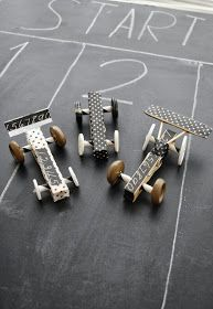 Simple race cars using clothes pins