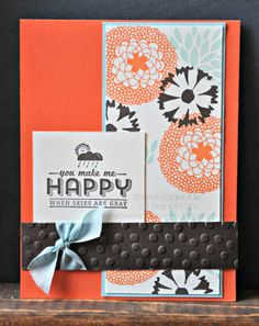 "Sweetest Designs Stamps: Petal Parade, See Ya Later Ink: Early Espresso, Soft Sky, Tangerine Tango CS: Early Espresso, Soft Sky, Tangerine Tango, Very Vanilla Accessories: Big Shot, Decorative Dots textured embossing folder (2014 Sale-A-Bration exclusive), Soft Sky 1/2"" seam binding ribbon"