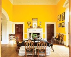 'Utilizing analysis and studies by Welsh Color & Conservation, Inc., it was determined that the walls of Monticello's Dining room and Tea room were originally white unpainted plaster. Later in 1815 Jefferson had the Dining room painted a bright chrome yellow.'