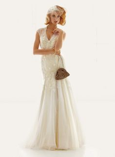 wedding gowns under $1000: fit and flare lace dress by melissa sweet