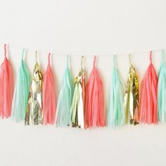 Mint Coral and Gold Tissue Paper Tassel Garland