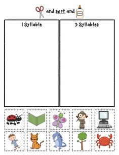"Sample page from ""Syllable Sorts"" {Phonemic Awareness Sorting Series, Set #1}  $"