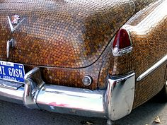 Crazy pants! A 1953 Cadillac Sedan DeVille covered in pennies