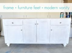 Add furniture feet to existing vanity to make look more like furniture!