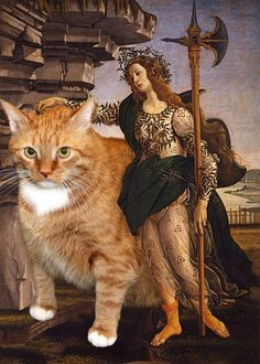 "Haha - Artist Svetlana Petrova doesn't have to pay models to pose for her, instead she uses her ginger tabby Zarathustra. She recreates some of the world's finest paintings by Botticelli, Dali, or Monet, featuring her fine feline as willing subject. // Fat cat Zarathustra photoshopped into the painting: ""Pallas and the Centaur"" by Sandro"