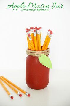 DecoArt Blog - Project - Apple Mason Jar for Back-to-School