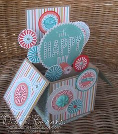 happy birthday card in a box | Stampin Up card in a box with Starburst Sayings & Spiral Spins by Di ...