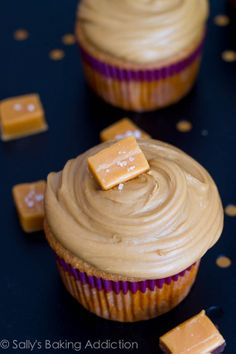 Caramel Cupcakes, topped with thick salted caramel frosting, and a salted caramel on top!  To-die for