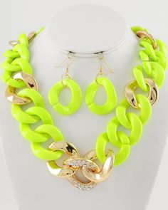 Bright Idea Neon Yellow and Gold Chain Statement  Necklace $44 #statementjewelry #jewellery #jewlry