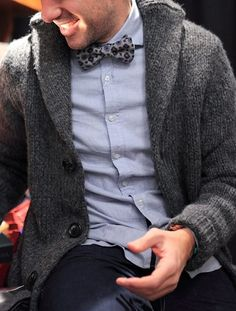 heavy cardigan and bow tie