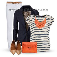 Navy & Coral, created by uniqueimage on Polyvore