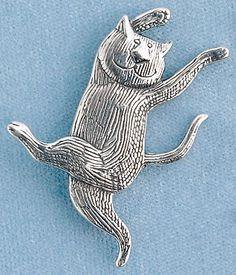 "Gorey Dancing Cat Pin- Artist: Edward Gorey (1925-2000): Sterling silver 2 x 2 1/2"". $60"