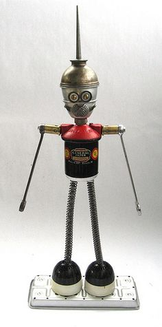 Found Object Robot Assemblage Sculpture