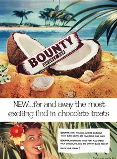 The most exciting find in chocolate treats! #vintage #ad #food #1950s #chocolate #bar #coconut #Bounty