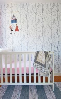 Crib with mobile and