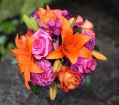 Image detail for -BB0451-Fuchsia and Orange Bridal Bouquet