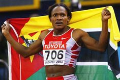 Maria Mutola (Mozambique):  She is without doubt Mozambique's biggest name when it comes to sport. Her days of glory started right at the Atlanta Olympic in 1996, when she managed a bronze in the women's 800 meters, finishing well behind Russian Svetlana Masterkova and Cuban Ana Quirot. However, four years later in the Sydney Olympics, she more than made up for the disappointment by winning gold, outpacing her rivals. It was Mozambique's first, and so far only gold. Mutola is often ranked as th
