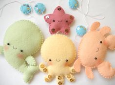 PDF pattern - Four cute sea creatures - octopus, whale, starfish and crab - DIY felt ornaments, baby crib mobile. $9,00, via Etsy.