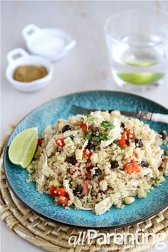 Quinoa salad with chicken, black beans & chipotle dressing.  Easy dinner! @all Parenting