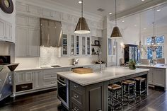 two-tone pale gray & dark gray kitchen