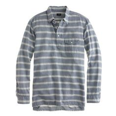 Brushed twill popover in peacock blue stripe | J. Crew