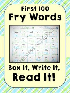 Fry Word Fluency Game ~ Read It, Write It, Box It!! Enter for your chance to win 1 of 6.  Fry Word Fluency Game ~ Box It, Write It, Read It! (13 pages) from Common Core Connection on TeachersNotebook.com (Ends on on 11-1-2014)  Fry Word Fluency Game ~ Read It, Write It, Box It!   (First Hundred Fry Words)