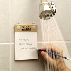 I soooooo need these!!!!!! AquaNotes - Waterproof notepad that's perfect for recording those epiphanies you get in the shower.  Equipped with two suction cups that secure it to any smooth surface, it's sustainability made with Incense Cedar wood and printed with soy-based ink.  A pencil and pencil holder are included. I figure out my whole day in the shower, this is awesome!