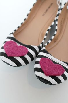 add a felt heart to a pair of flats for an easy Valentine's Day craft!