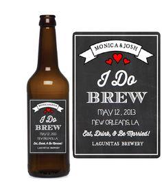Custom Beer Labels - I Do Brew - Chalkboard Wedding Favors - Beer Bottle Labels on Etsy, $12.00