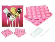 NEW SILICONE NON STICK CAKE POP SET BAKING TRAY MOLD BIRTHDAY PARTY 20 UNITS
