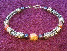 Mens Copper Viking Knit Bracelet - Patina with Jasper Nuggets - Garnet