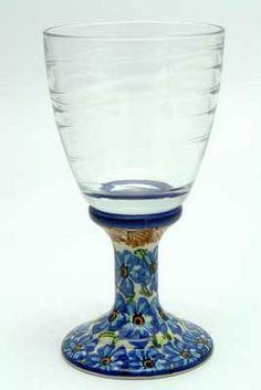 Polish Pottery Glass Goblet