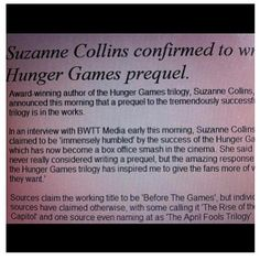 Hunger Games Prequel #BeforeTheGames #SuzanneCollins// OH MY GOSH YOU GUYS!!!!!